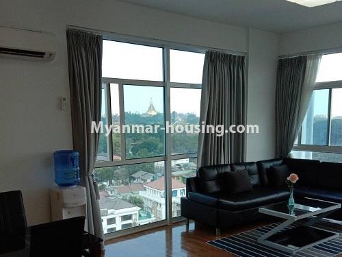 မြန်မာအိမ်ခြံမြေ - ငှားရန် property - No.4495 - စမ်းချောင်း၊ Sanchaung Garden Residence တွင် ခေတ်မှီကွန်ဒိုခန်း တစ်ခန်းငှားရန်ရှိသည်။living room view
