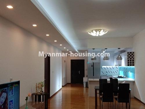 မြန်မာအိမ်ခြံမြေ - ငှားရန် property - No.4495 - စမ်းချောင်း၊ Sanchaung Garden Residence တွင် ခေတ်မှီကွန်ဒိုခန်း တစ်ခန်းငှားရန်ရှိသည်။dining area view