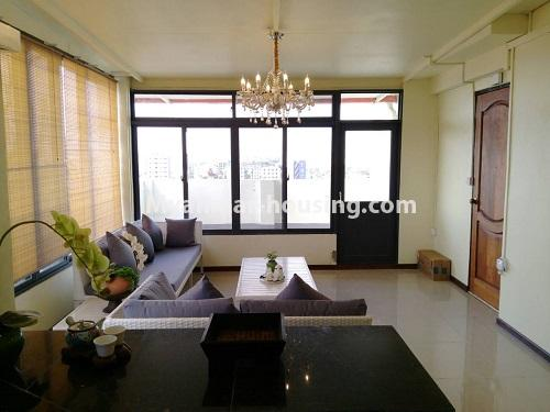 Myanmar real estate - for rent property - No.4503 - Top floor condominium room with full furniture for rent in South Okkalapa! - living room view