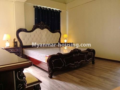Myanmar real estate - for rent property - No.4503 - Top floor condominium room with full furniture for rent in South Okkalapa! - master bedroom view