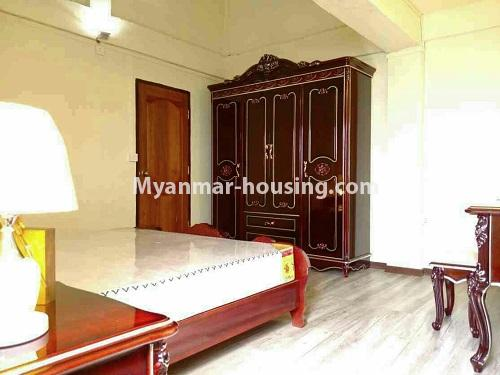 Myanmar real estate - for rent property - No.4503 - Top floor condominium room with full furniture for rent in South Okkalapa! - another view of master bedroom
