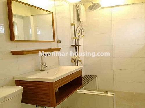 Myanmar real estate - for rent property - No.4503 - Top floor condominium room with full furniture for rent in South Okkalapa! - bathroom