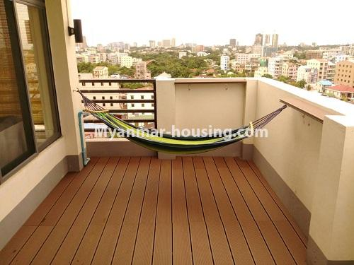 Myanmar real estate - for rent property - No.4503 - Top floor condominium room with full furniture for rent in South Okkalapa! - balcony and outside view from balcony