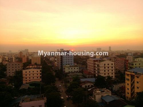 Myanmar real estate - for rent property - No.4503 - Top floor condominium room with full furniture for rent in South Okkalapa! - sunset view from balcony