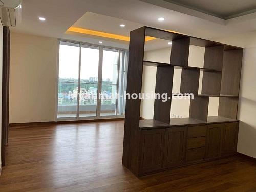 Myanmar real estate - for rent property - No.4508 - Furnished new condominium room in KBZ Tower for rent in Sanchaung! - living room view