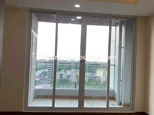 Myanmar real estate - for rent property - No.4508 - Furnished new condominium room in KBZ Tower for rent in Sanchaung! - balcony view