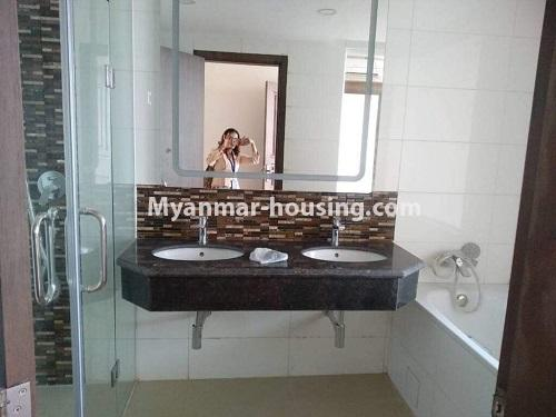 Myanmar real estate - for rent property - No.4508 - Furnished new condominium room in KBZ Tower for rent in Sanchaung! - master bedroom bathroom view