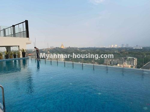 Myanmar real estate - for rent property - No.4508 - Furnished new condominium room in KBZ Tower for rent in Sanchaung! - swimming pool view