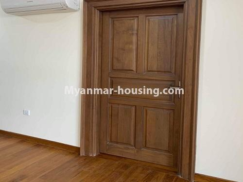 Myanmar real estate - for rent property - No.4508 - Furnished new condominium room in KBZ Tower for rent in Sanchaung! - main door view