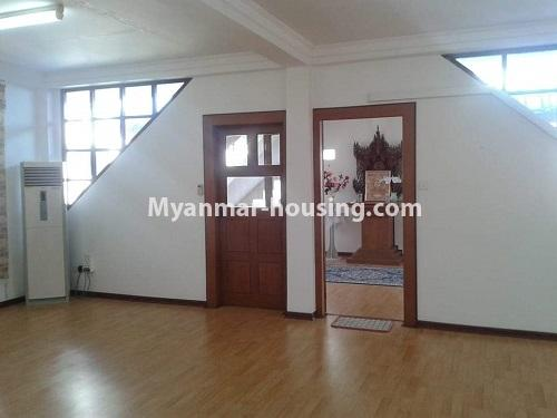 Myanmar real estate - for rent property - No.4509 - Three storey landed house for rent in Golden Valley, Bahan! - top floor hall and shrine view
