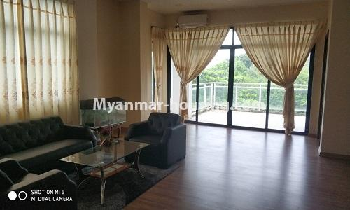 Myanmar real estate - for rent property - No.4512 - Half and three storey building with lift for office or residential option or for both in Yankin! - living room 1