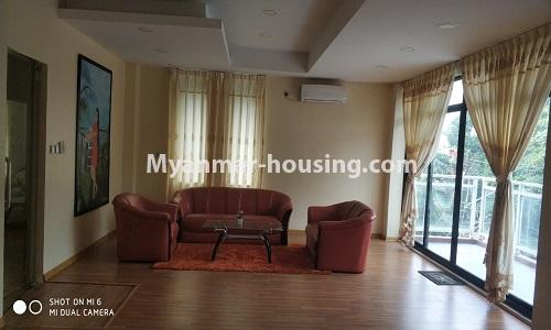 Myanmar real estate - for rent property - No.4512 - Half and three storey building with lift for office or residential option or for both in Yankin! - living room 2