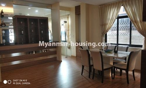 Myanmar real estate - for rent property - No.4512 - Half and three storey building with lift for office or residential option or for both in Yankin! - dining area