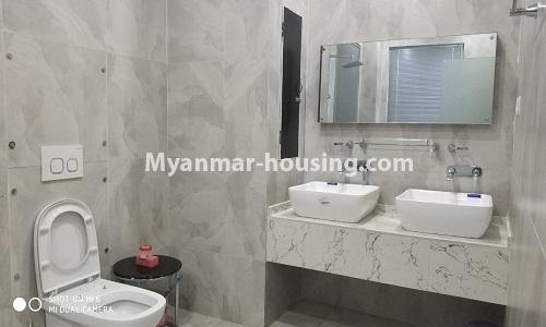 Myanmar real estate - for rent property - No.4512 - Half and three storey building with lift for office or residential option or for both in Yankin! - bathroom 1
