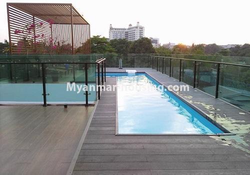 မြန်မာအိမ်ခြံမြေ - ငှားရန် property - No.4517 - မရမ်းကုန်း ၈မိုင်တွင် ပရိဘောဂ ပစ္စည်းအပြည့်အစုံပါ ရေကူးကန်ပါ ဓာတ်လှေခါးပါ သုံးထပ်ခွဲအိမ်တစ်လုံး ငှားရန်ရှိသည်။swimming pool view on rooftop