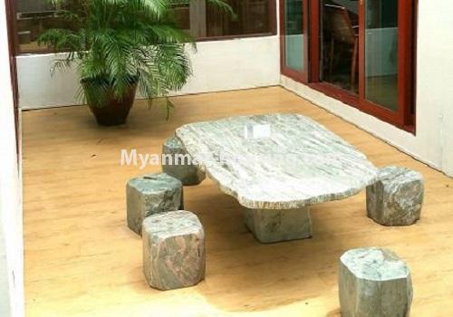 မြန်မာအိမ်ခြံမြေ - ငှားရန် property - No.4517 - မရမ်းကုန်း ၈မိုင်တွင် ပရိဘောဂ ပစ္စည်းအပြည့်အစုံပါ ရေကူးကန်ပါ ဓာတ်လှေခါးပါ သုံးထပ်ခွဲအိမ်တစ်လုံး ငှားရန်ရှိသည်။recreational area