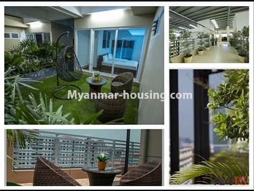 မြန်မာအိမ်ခြံမြေ - ငှားရန် property - No.4538 - ဗိုလ်တစ်ထောင်တွင် ရန်ကုန်မြစ်ဗျူးမြင်ရသော အပေါ်ဆုံးလွှာ ငှားရန်ရှိသည်။patio and balcony view