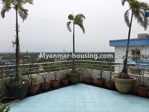 မြန်မာအိမ်ခြံမြေ - ငှားရန် property - No.4540 - မရမ်းကုန်း ၉ မိုင်တွင် ရန်ကုန်တစ်မြို့လုံးဗျူးကိုမြင်ရသော နှစ်ထပ်ပါ အပေါ်ဆုံးလွှာ ငှားရန်ရှိသည်။ patio view