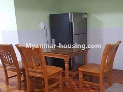မြန်မာအိမ်ခြံမြေ - ငှားရန် property - No.4545 - မြေနီကုန်းတွင် အိပ်ခန်းနှစ်ခန်းပါသော မီနီကွန်ဒိုခန်း ငှားရန်ရှိသည်။dining area view