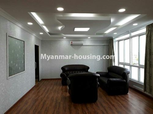 Myanmar real estate - for rent property - No.4575 - Furnished condominium room near Inya Lake for rent in Hlaing! - living room view