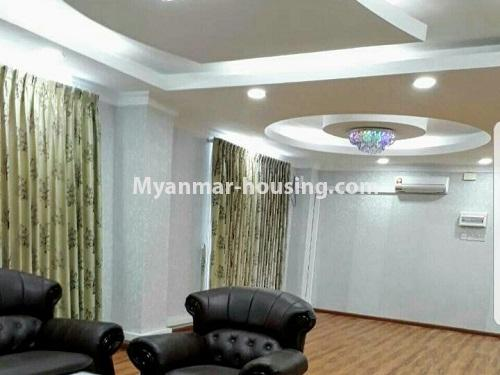 Myanmar real estate - for rent property - No.4575 - Furnished condominium room near Inya Lake for rent in Hlaing! - anothr view of living room