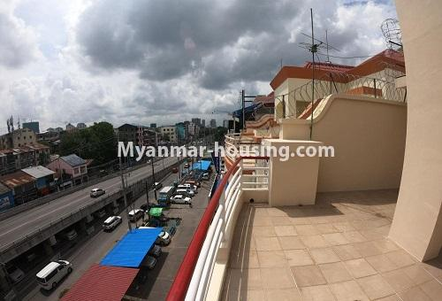 Myanmar real estate - for rent property - No.4576 - Shop House for rent in U Chit Maung Housing, Tarmway! - rooftop balcony and road view