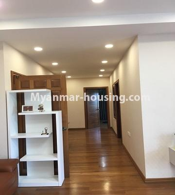 Myanmar real estate - for rent property - No.4577 - Nice furnished Diamond Crown Condominium room for rent in Dagon! - corridor view