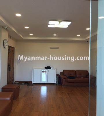 Myanmar real estate - for rent property - No.4577 - Nice furnished Diamond Crown Condominium room for rent in Dagon! - living room hall view