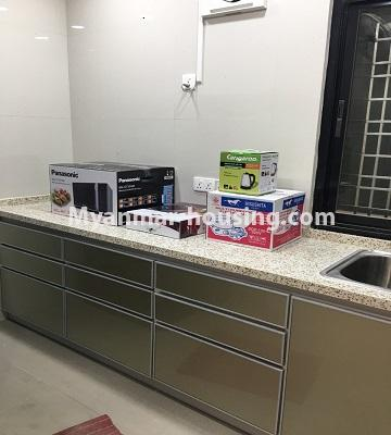 Myanmar real estate - for rent property - No.4577 - Nice furnished Diamond Crown Condominium room for rent in Dagon! - kitchen view