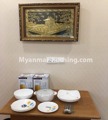 Myanmar real estate - for rent property - No.4577 - Nice furnished Diamond Crown Condominium room for rent in Dagon! - dining area view