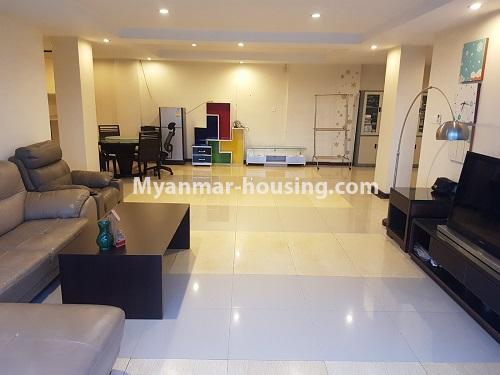Myanmar real estate - for rent property - No.4584 - High floor Shwe Hin Thar Condominium room for rent in Hlaing! - living room view