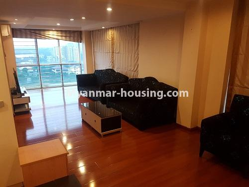 Myanmar real estate - for rent property - No.4584 - High floor Shwe Hin Thar Condominium room for rent in Hlaing! - master bedroom view