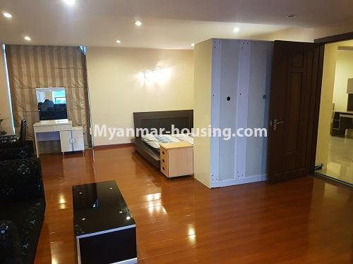 Myanmar real estate - for rent property - No.4584 - High floor Shwe Hin Thar Condominium room for rent in Hlaing! - another view of master bedroom