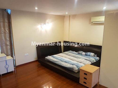 Myanmar real estate - for rent property - No.4584 - High floor Shwe Hin Thar Condominium room for rent in Hlaing! - master bed and mattress