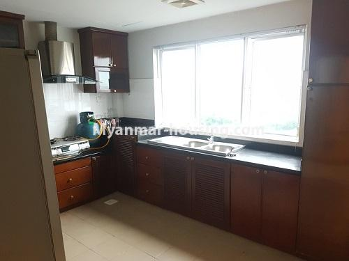 Myanmar real estate - for rent property - No.4584 - High floor Shwe Hin Thar Condominium room for rent in Hlaing! - kitchen view