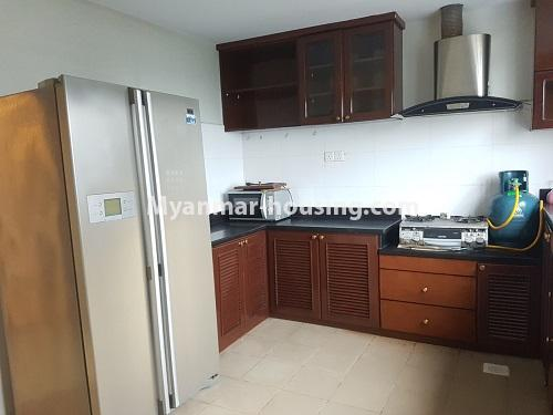 Myanmar real estate - for rent property - No.4584 - High floor Shwe Hin Thar Condominium room for rent in Hlaing! - another view of kitchen