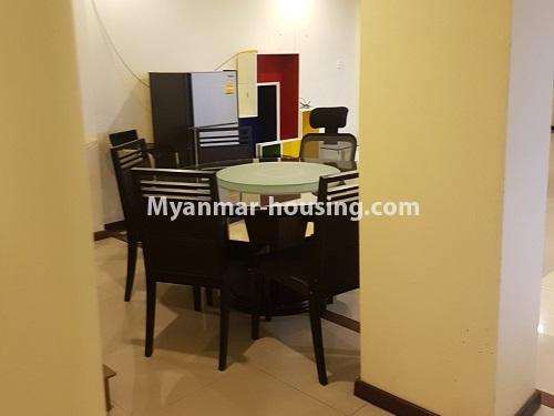 Myanmar real estate - for rent property - No.4584 - High floor Shwe Hin Thar Condominium room for rent in Hlaing! - dining area view