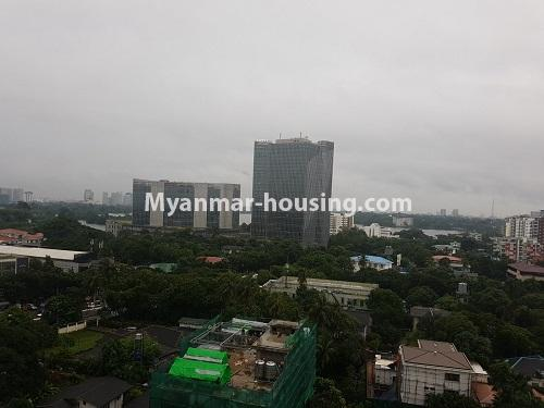 Myanmar real estate - for rent property - No.4584 - High floor Shwe Hin Thar Condominium room for rent in Hlaing! - outside view