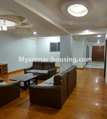 Myanmar real estate - for rent property - No.4586 - Furnished Lamin Thar Yar Condominium room for rent in Mingalar Taung Nyunt! - living room view