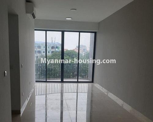 Myanmar real estate - for rent property - No.4588 - Kan Thar Yar Residential Condominium room for rent near Kan Daw Gyi Park! - living room view