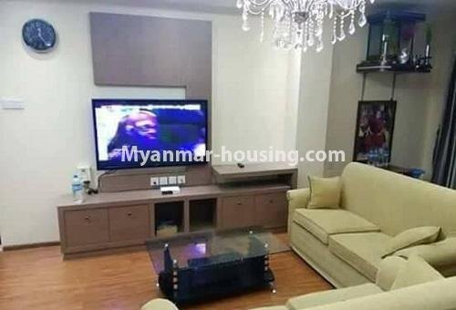 Myanmar real estate - for rent property - No.4613 - Furnished three bedroom condominium room for rent near Hledan Junction! - living room view