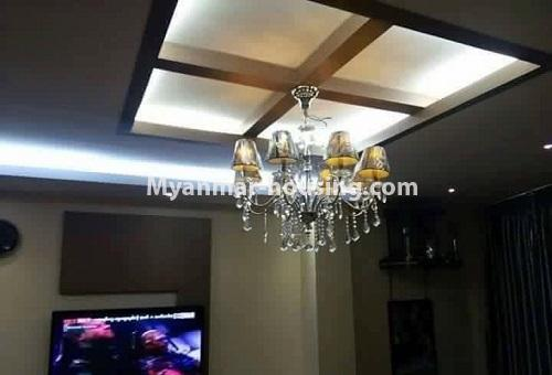 Myanmar real estate - for rent property - No.4613 - Furnished three bedroom condominium room for rent near Hledan Junction! - living room ceiling view