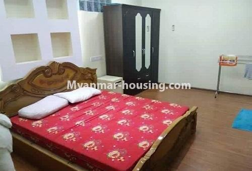Myanmar real estate - for rent property - No.4613 - Furnished three bedroom condominium room for rent near Hledan Junction! - master bedroom view