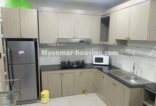 Myanmar real estate - for rent property - No.4613 - Furnished three bedroom condominium room for rent near Hledan Junction! - kitchen view