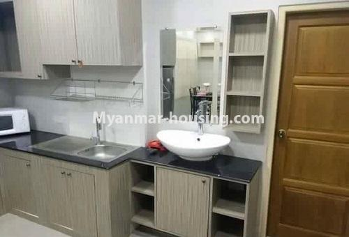 Myanmar real estate - for rent property - No.4613 - Furnished three bedroom condominium room for rent near Hledan Junction! - another view of kitchen