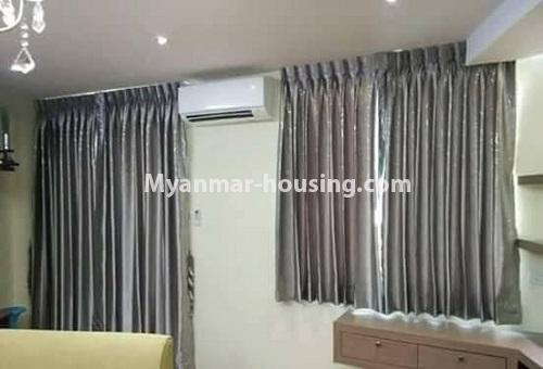Myanmar real estate - for rent property - No.4613 - Furnished three bedroom condominium room for rent near Hledan Junction! - snother view of single bedroom