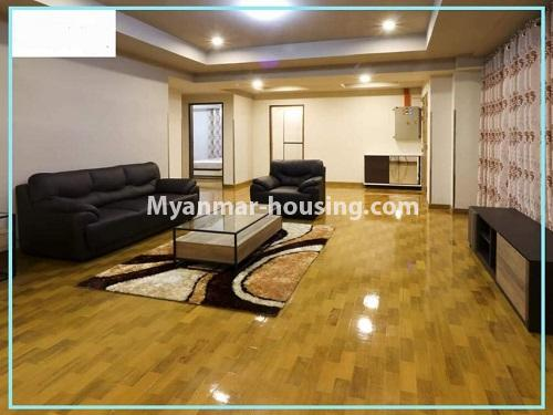 Myanmar real estate - for rent property - No.4614 - One bedroom Sein Lae Aung condominium room for rent in Yankin! - living room view