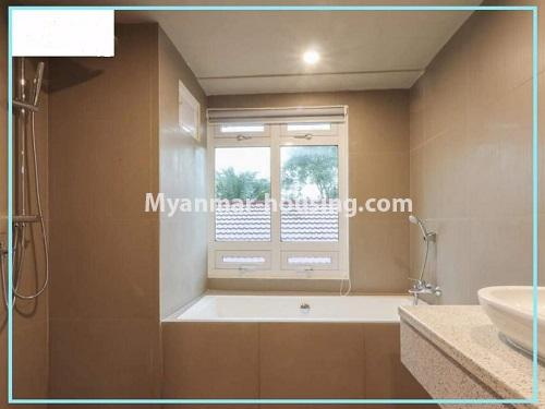Myanmar real estate - for rent property - No.4614 - One bedroom Sein Lae Aung condominium room for rent in Yankin! - bathroom view