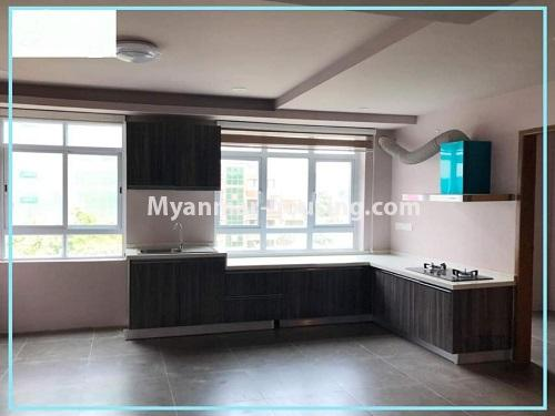 Myanmar real estate - for rent property - No.4614 - One bedroom Sein Lae Aung condominium room for rent in Yankin! - kitchen view