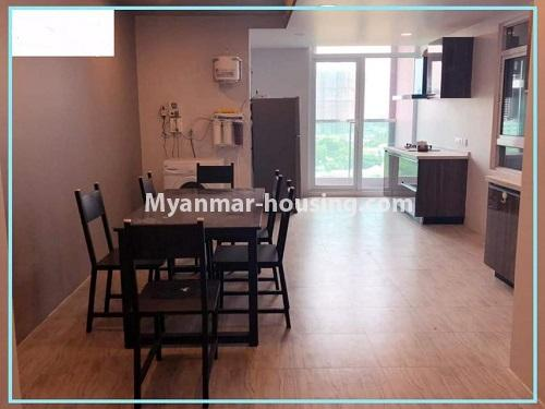 Myanmar real estate - for rent property - No.4614 - One bedroom Sein Lae Aung condominium room for rent in Yankin! - dining area view